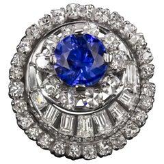 3.40 Carat Vintage Sapphire Diamond Ring