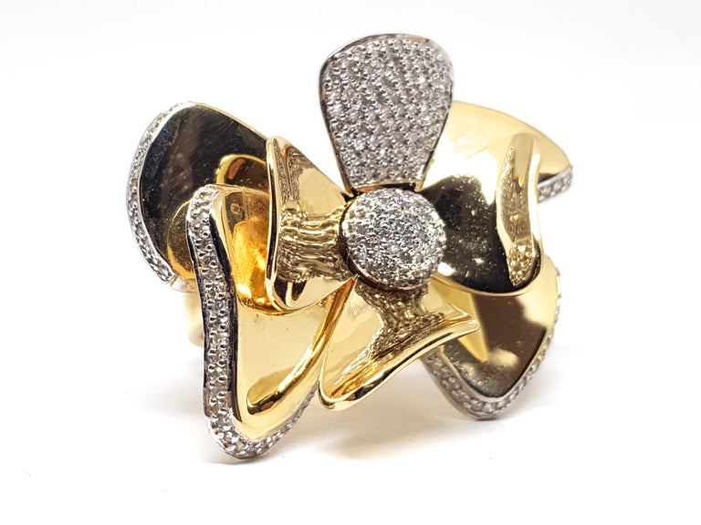 Gold: 18K Yellow & White Gold.  Weight: 31.05 gr. Diamonds: 3.40ct. Colour: H Clarity: VS2 Width: 3.0 cm.  Ring size: EU 57 / 18.25mm / US 8 Free Resizing up to size 70 All our jewellery comes with a certificate and a 5 year guarantee  Shipping: