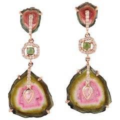 34.06 Tourmaline Melon Diamond 18 Karat Gold Earrings