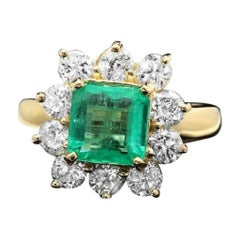 3.40ct Natural Emerald & Diamond 14k Solid Yellow Gold Ring