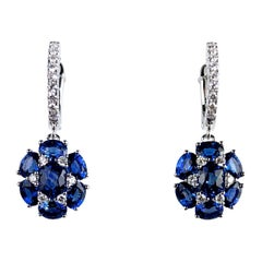 DiamondTown 3.41 Carat Blue Sapphire Dangle Flower Earrings in 18 Karat Gold