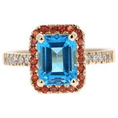 3.41 Carat Blue Topaz Sapphire Diamond 14 Karat Yellow Gold Ring