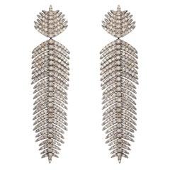3.41 Carat Diamond Palm Leaf Drop Earrings