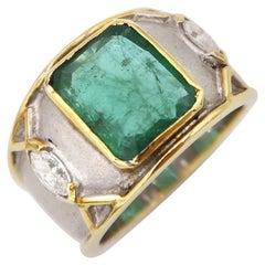 3.41 Carat Emerald and Marquis Diamond 18 Karat Gold Raised Edge Men's Ring