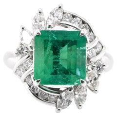 3.41 Carat Natural Emerald and Diamond Estate Ring Set in Platinum
