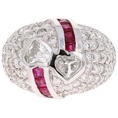 3.41 Carat Ruby and Heart Diamond 14 Karat White Gold Ring