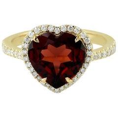 3.41 Garnet Diamond 14 Karat Gold Heart Ring