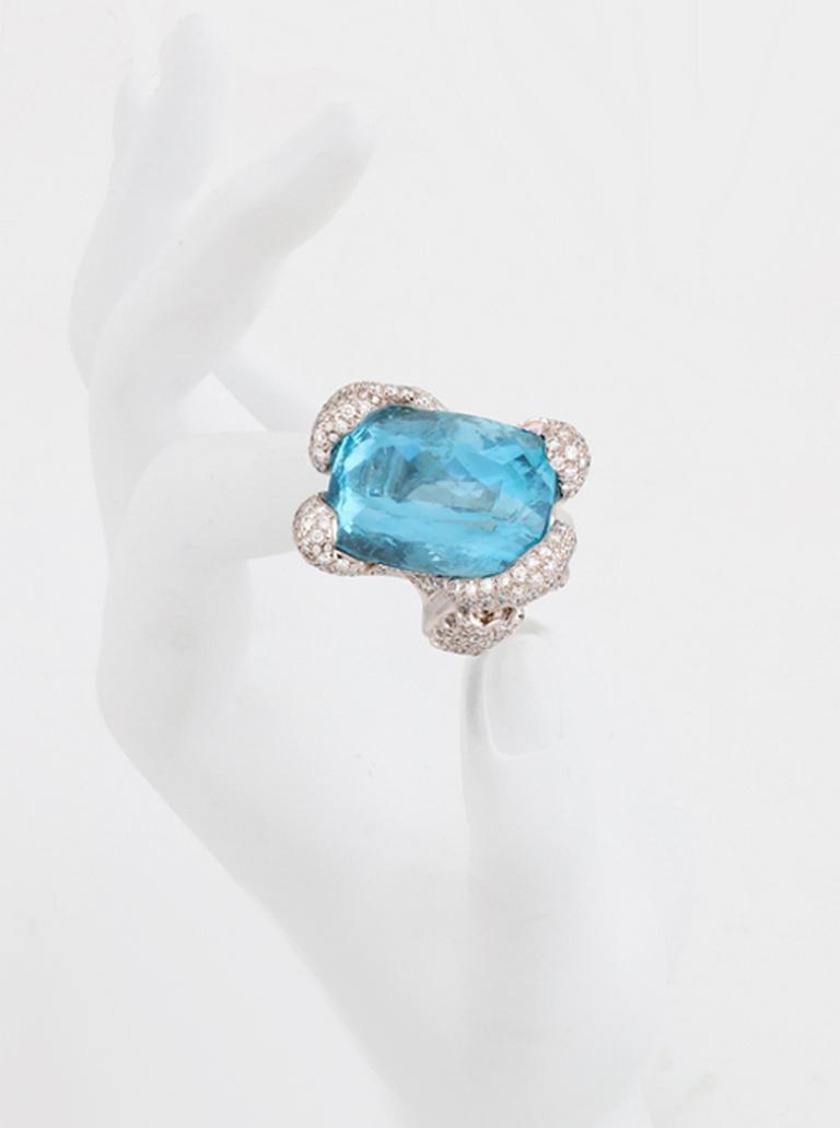 Contemporary 34.10 Carat Aquamarine Ring by John Landrum Bryant For Sale