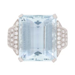34.15 Carat Aquamarine and Diamond Ring, c.1940s