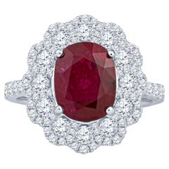 3.41ct Thai Oval Ruby in 18k White Gold and 1.17ct Round Diamonds, GIA Report