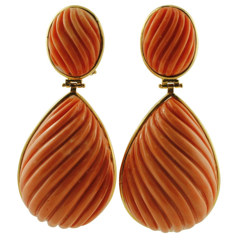 34.1g Carved Big Coral, 18 Karat Yellow Gold Dangle Earrings For Sale