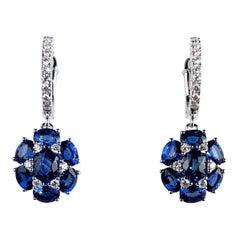 3.42 Carat Blue Sapphire Dangle Flower Earrings in 18 Karat White Gold