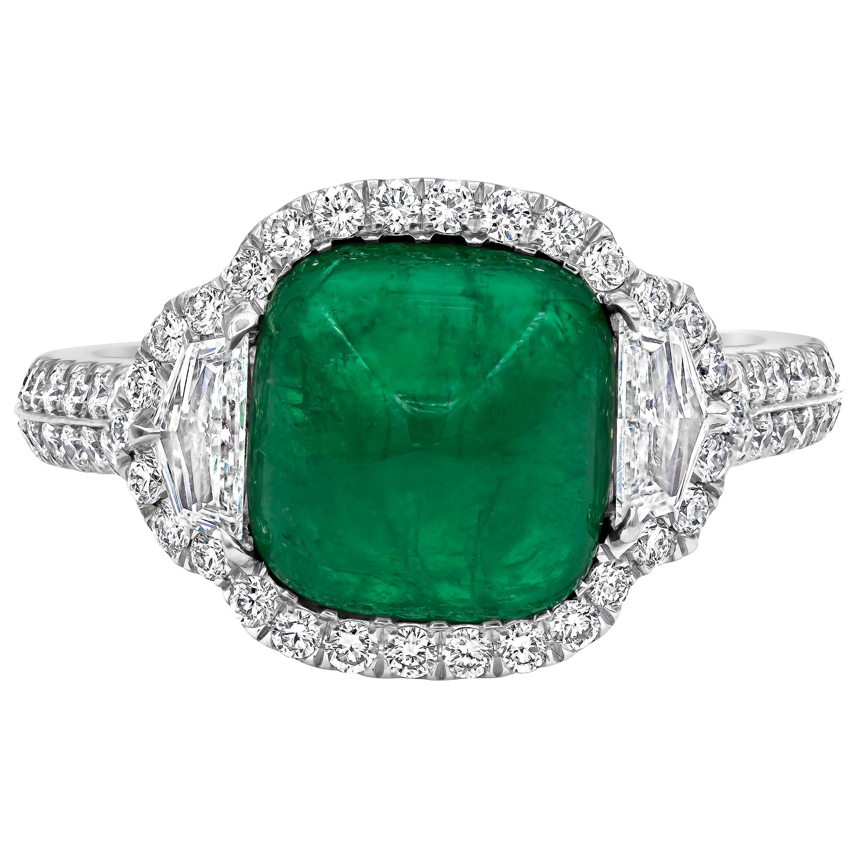 3.42 Carat Cabochon Emerald and Diamond Halo Three-Stone Ring