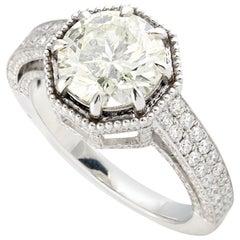 3.42 Carat Diamond 18 Karat Gold Engagement Ring