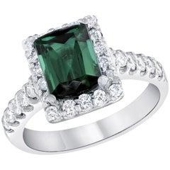 3.42 Carat Emerald Cut Green Tourmaline Diamond Cocktail Ring