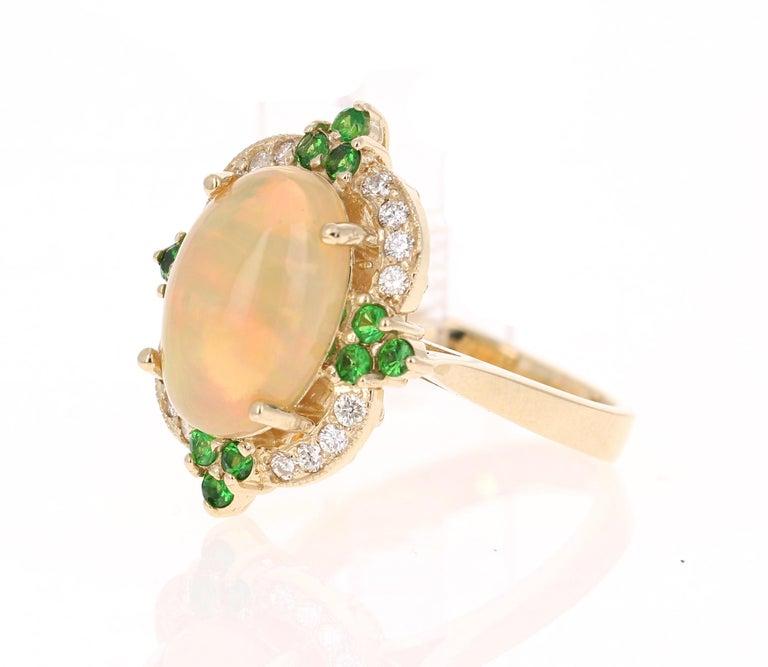 Modern 3.42 Carat Opal Tsavorite Diamond Cocktail Ring 14 Karat Yellow Gold For Sale