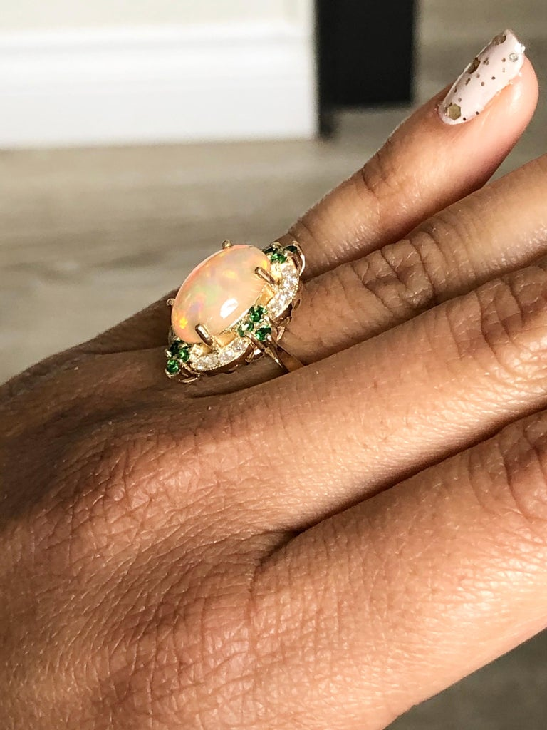 3.42 Carat Opal Tsavorite Diamond Cocktail Ring 14 Karat Yellow Gold In New Condition For Sale In Los Angeles, CA