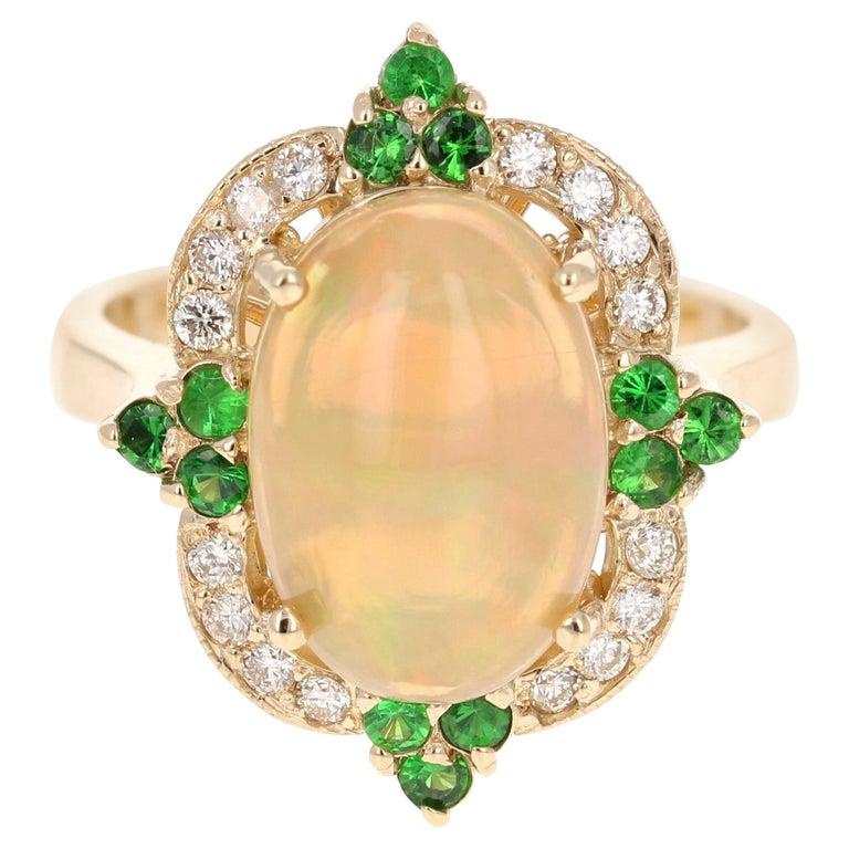 3.42 Carat Opal Tsavorite Diamond Cocktail Ring 14 Karat Yellow Gold For Sale