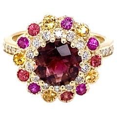 3.42 Carat Tourmaline Sapphire Diamond 14 Karat Yellow Gold Cocktail Ring