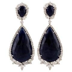 34.29 Carat Blue Sapphire Diamond 18 Karat Gold Earrings