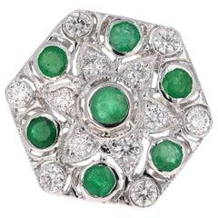 3.43 Carat Emerald and Diamond 14 Karat White Gold Art Deco Style Cocktail Ring