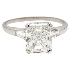 3.43 Carat F VS2 Radiant Cut Diamond Ring, GIA Certified