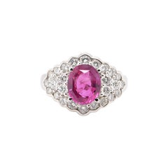 3.43 Carat, Natural Pink Sapphire and Diamond Estate Ring Set in Platinum