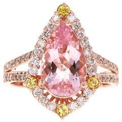 3.43 Carat Pink Morganite Diamond 14 Karat Rose Gold Bridal Ring