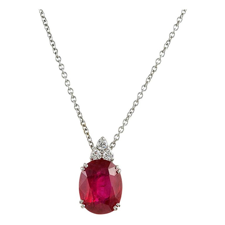 3.43 Carat Ruby and Diamond Solitaire Pendant For Sale