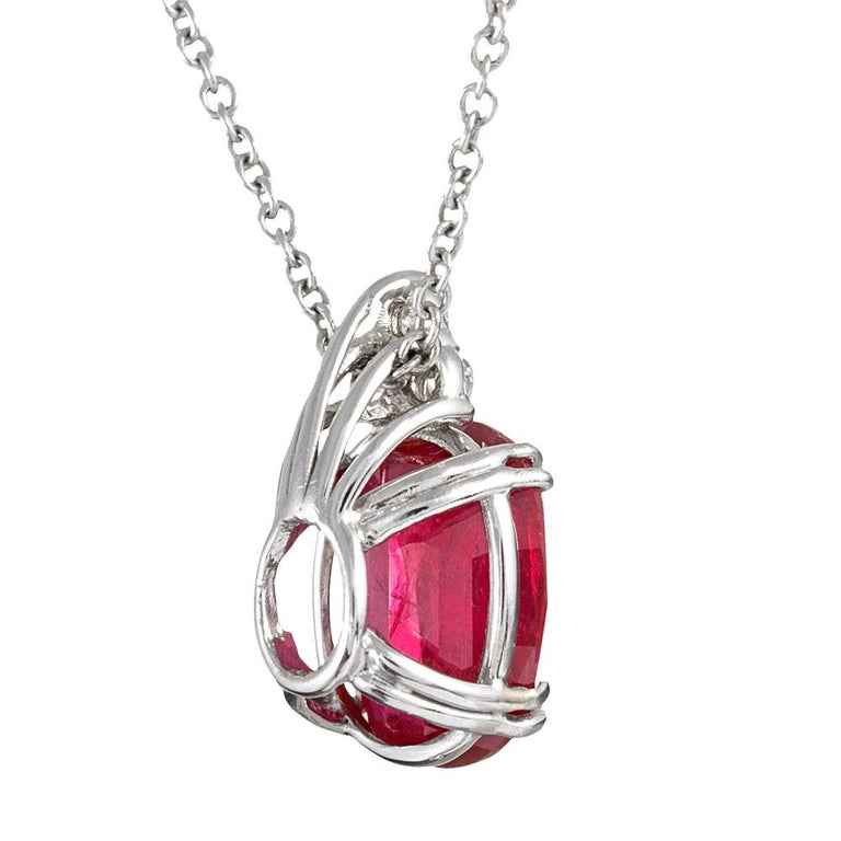 3.43 Carat Ruby and Diamond Solitaire Pendant In Excellent Condition For Sale In Carmel-by-the-Sea, CA