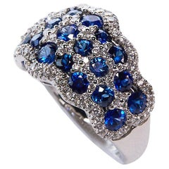 3.43 Carat Sapphire and Diamond Band Ring