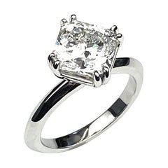 3.43 Carat Square Radiant Cut Diamond Engagement Ring