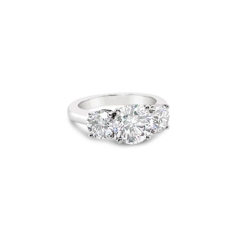 Brilliant Cut 3.43 Carat 'total weight' Three-Stone Diamond Ring in Platinum For Sale