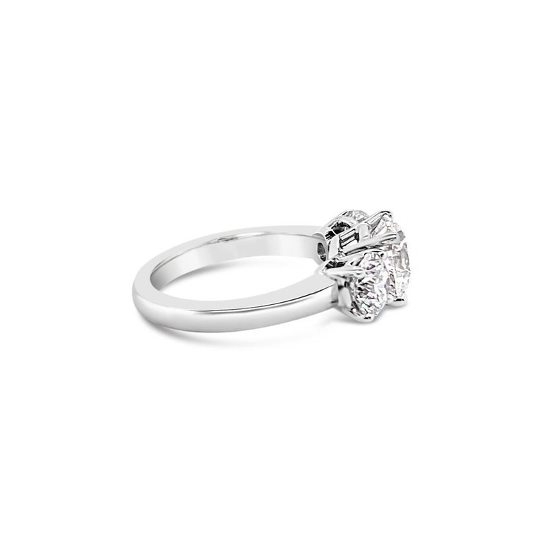 Women's 3.43 Carat 'total weight' Three-Stone Diamond Ring in Platinum For Sale