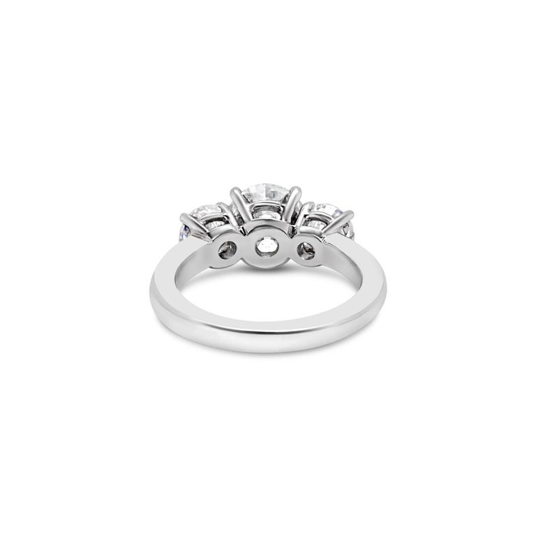 3.43 Carat 'total weight' Three-Stone Diamond Ring in Platinum For Sale 1