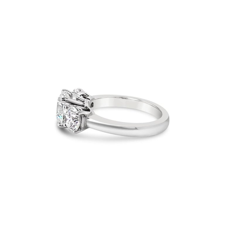 3.43 Carat 'total weight' Three-Stone Diamond Ring in Platinum For Sale 2