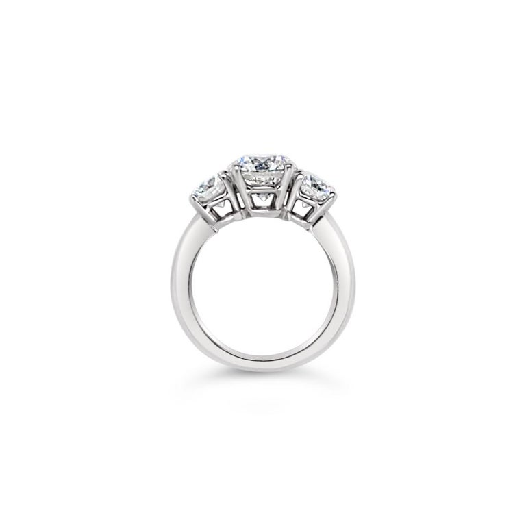 3.43 Carat 'total weight' Three-Stone Diamond Ring in Platinum For Sale 3