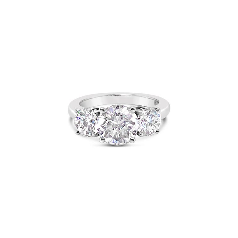 3.43 Carat 'total weight' Three-Stone Diamond Ring in Platinum For Sale 4
