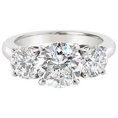 3.43 Carat 'total weight' Three-Stone Diamond Ring in Platinum