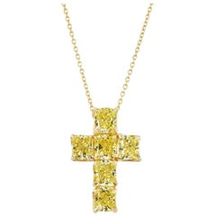 3.44 Carat Cushion Cut Yellow Diamond Cross