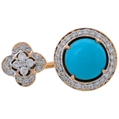 3.44 Carat Fine Turquoise Pave Set Diamond Open Band Ring
