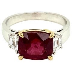 3.44 Carat GRS Certified Burmese Red Spinel and White Diamond Engagement Ring