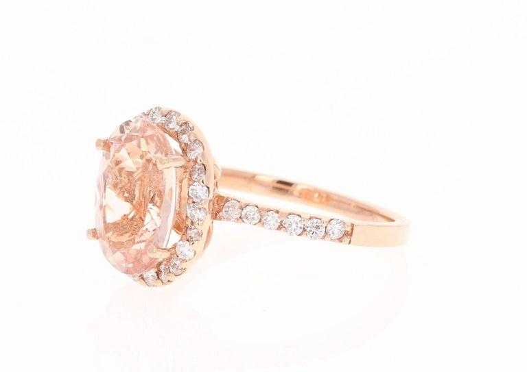 Modern 3.44 Carat Morganite Diamond 14 Karat White Rose Cocktail Ring For Sale
