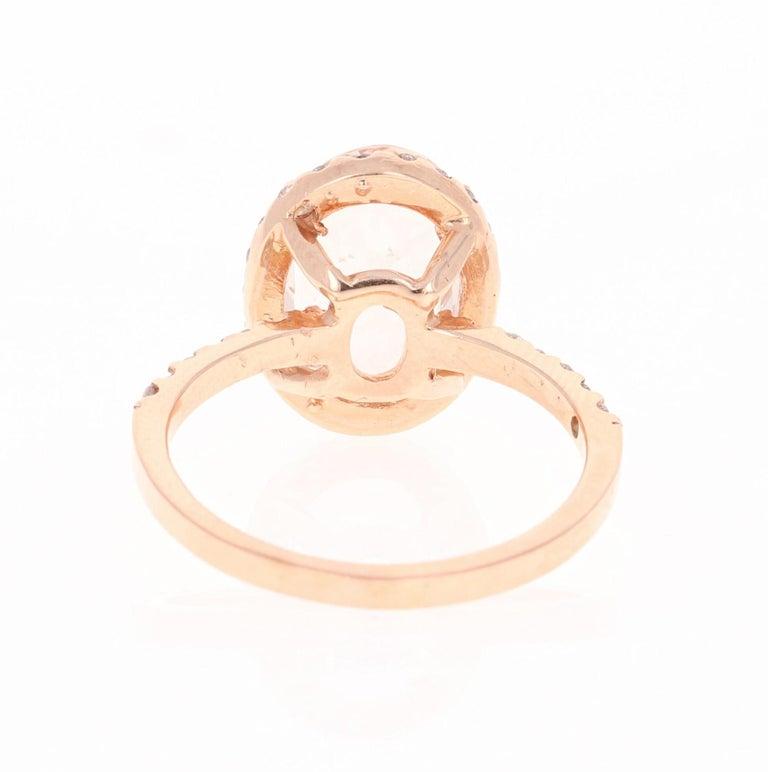 Oval Cut 3.44 Carat Morganite Diamond 14 Karat White Rose Cocktail Ring For Sale