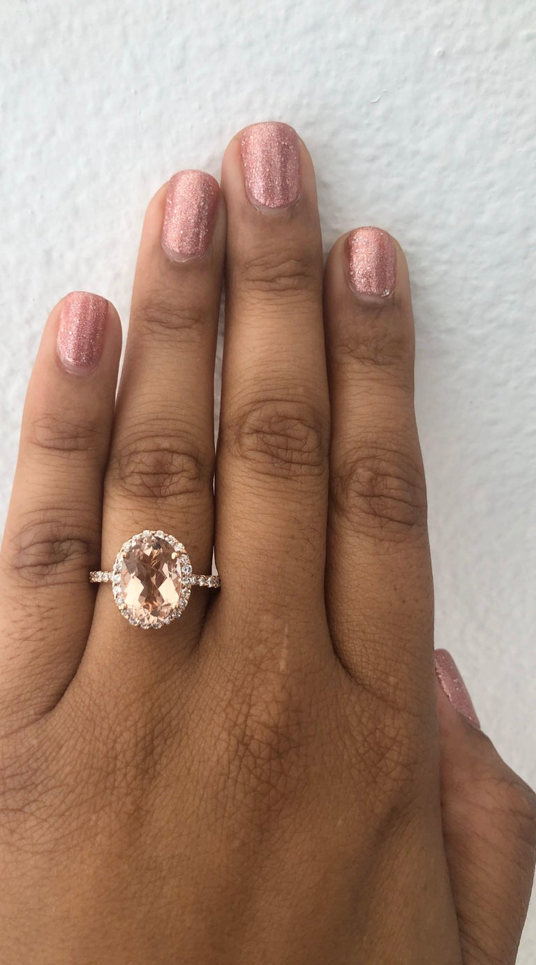 3.44 Carat Morganite Diamond 14 Karat White Rose Cocktail Ring In New Condition For Sale In Los Angeles, CA