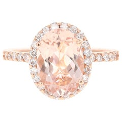 3.44 Carat Morganite Diamond 14 Karat White Rose Cocktail Ring