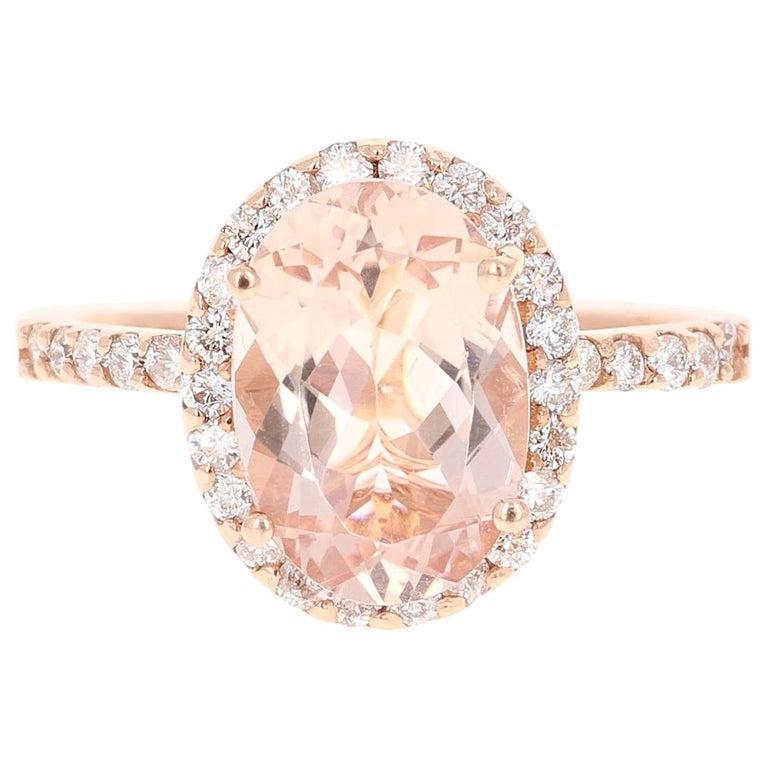 3.44 Carat Morganite Diamond 14 Karat White Rose Cocktail Ring For Sale