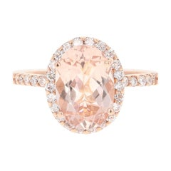 3.44 Carat Morganite Diamond 14 Karat White Rose Cocktail Ring