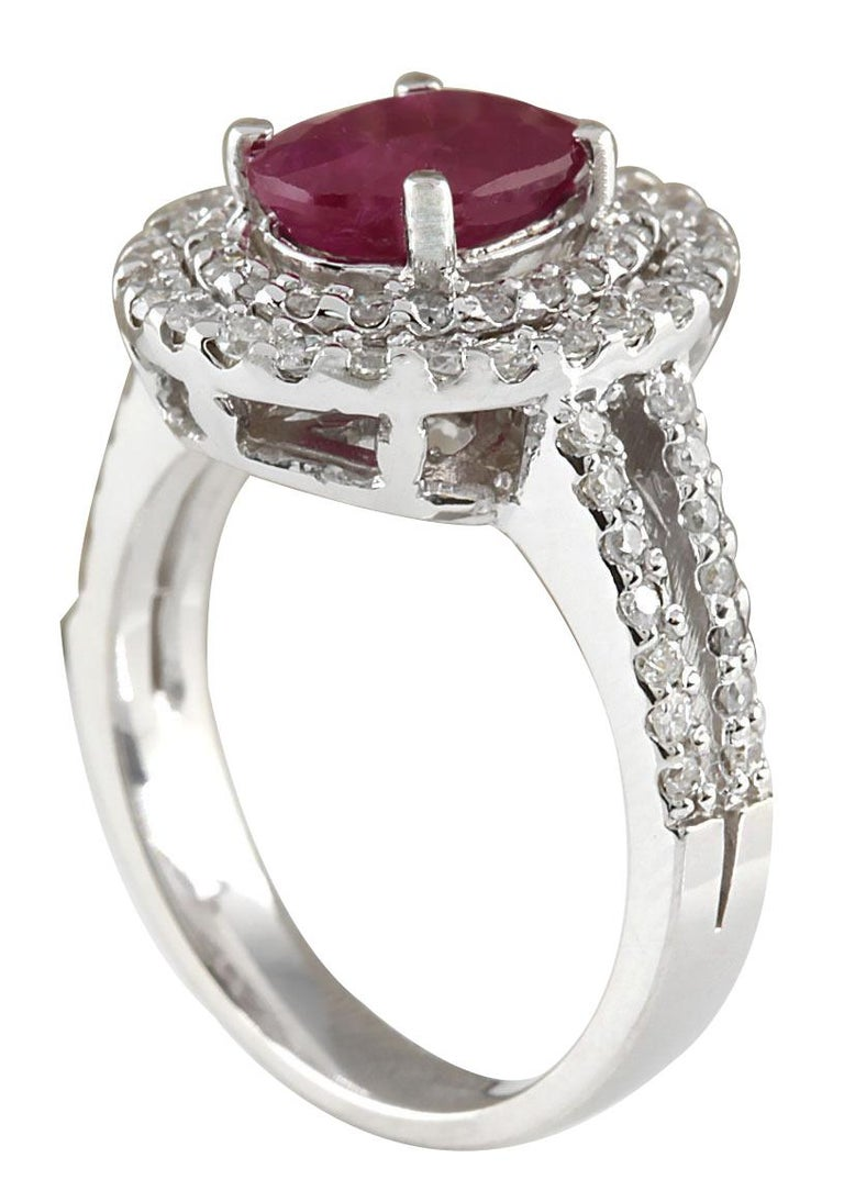 3.44 Carat Natural Ruby 18 Karat White Gold Diamond Ring In New Condition For Sale In Los Angeles, CA