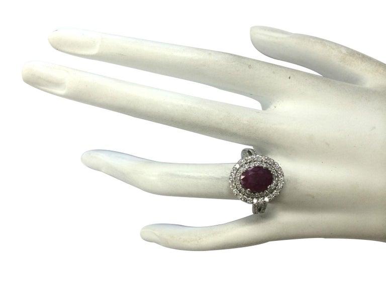 Women's 3.44 Carat Natural Ruby 18 Karat White Gold Diamond Ring For Sale